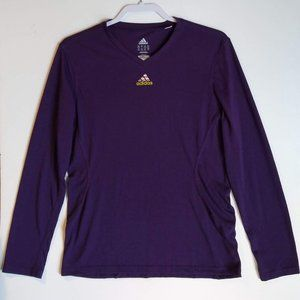 Women's Purple Adidas Climalite Long Sleeve V Neck